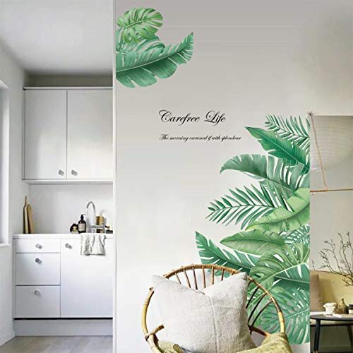 decalmile Pegatinas de Pared Planta Tropicales Vinilos Decorativos Hojas Verde Grandes Adhesivos Pared Sala Habitación Dormitorio Oficina (W:90cm)