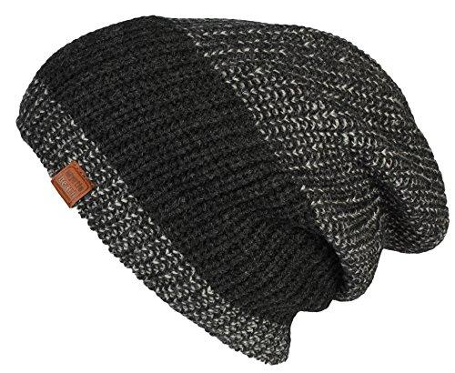 MB Sportswear Bonnet Hiver pour Hommes Urban Knitted Beanie bonnets tricoté slouch en black