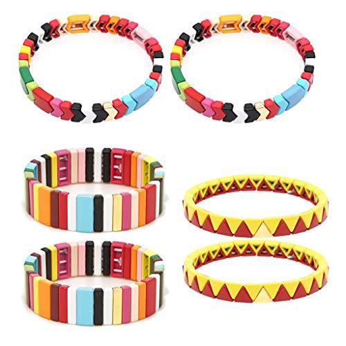 RK-HYTQWR 6Piece Bohemian Elastic Stretch Colorful Tile Esmalte Kit de Pulsera Joyas apilables, Pulsera de Pintura de aleación, Colorido