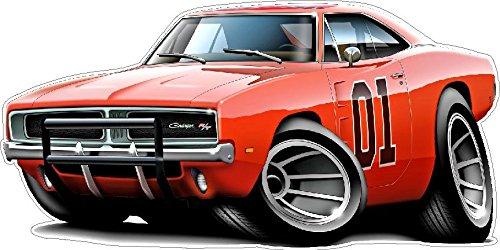 General Lee Wall Decal 2ft Long Cartoon Cars Classic Vinyl Sticker Man Cave Garage Boys Room Decor