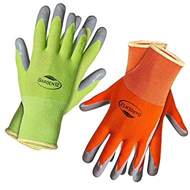 Gardening Gloves for Women Medium Size. (2 pairs per package) Super Grippy Garden Gloves from Breathable Nylon coated with puncture-resistant nitrile