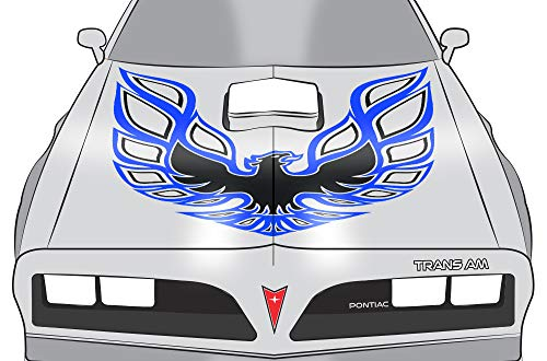 Car-Gear Universal Firebird Hood Graphics Kit 3M Vinyl Decal Wrap Compatible with Pontiac Trans Am - Blue Black