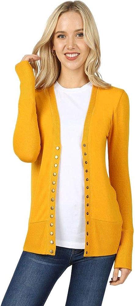Cardigans for Women Long Sleeve Cardigan Knit Snap Button Sweater Regular & Plus