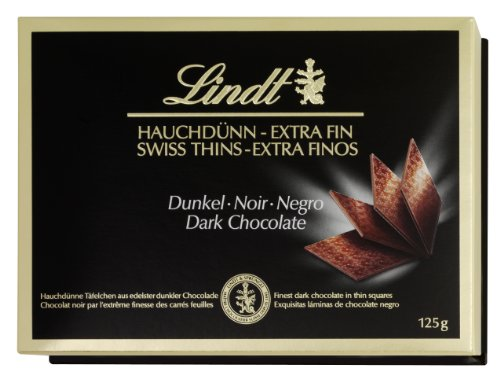 Lindt Swiss Thins Chocolate Negro 125gr - Lote de 3 unidades