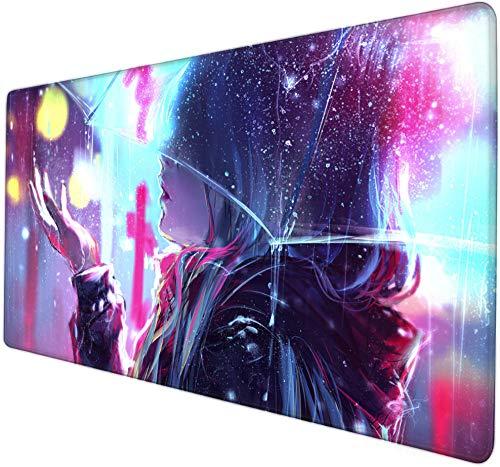 xxxl mauspad gaming Hübsches Mädchen der netten Karikatur unter transparentem Regenschirm Kreative Computerspiel-Mausunterlage große Schreibtischunterlage Jungen- und Mädchenkindergeschenke wettb