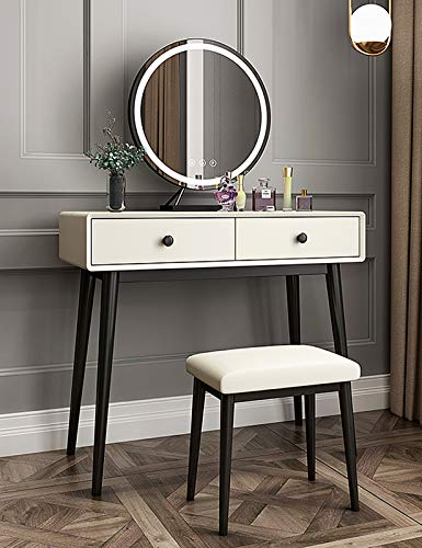Schlafzimmer Schminktische LED-Lichter Spiegel Make-up Tisch mit 2 Schubladen Weiß Schminktisch für Mädchen Schlafzimmer mit gepolstertem Hocker