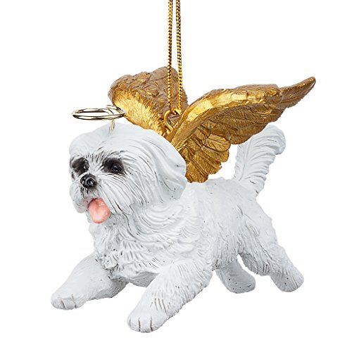 Christmas Tree Ornaments - Honor The Pooch Maltese Holiday Angel Dog Ornaments - Christmas Decorations