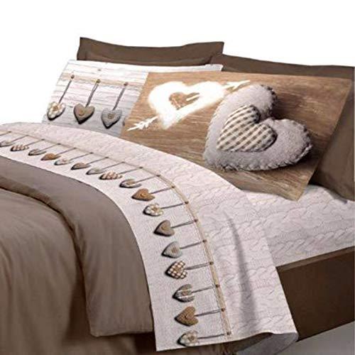 Smartsupershop T-shirt avec housse de couette pour lit double, avec taies d'oreiller, motif cœurs, beige, + couette intérieure en microfibre