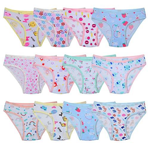 Kidear weiche Baumwoll.Unterwäsche für Babys und Kleinkinder, Slips für Mädchen, 12er-Pack, Alter 2-12 Jahre Gr. 10- 12 Jahre, Stil 7