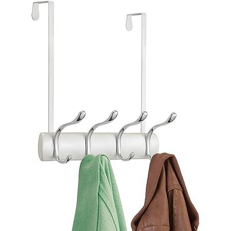 mDesign patère murale à 4 crochets – porte-manteau pour corridor, chambre, salon et bureau – accroche-vêtements à fixation sans outil – couleur : blanc nacré