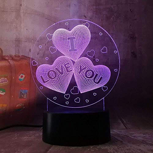 New 2019 Girl Love Balloons Heart Shape 3D LED Night Light Romantic Desk Table Lamp HOT Wedding Decoration Lovers Couple Gift A-1027