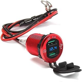 Rocketek Aluminio Quick Charge 3.0 Dual USB Cargador Toma de Corriente, 12V / 24V Coche Barco Marítimo RV Móvil con Fusibl...