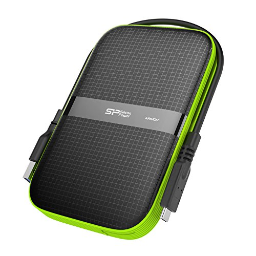 Silicon Power 1TB USB-C External Hard Drive PS5 Compatible, Shockproof USB 3.1 Gen 1 Black