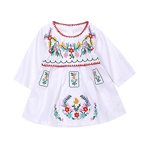 Kashoer Newborn Toddler Baby Girls Ethnic Embroidery Floral Dress Long Sleeve Party Sundress Skirt (6-12Months, White)