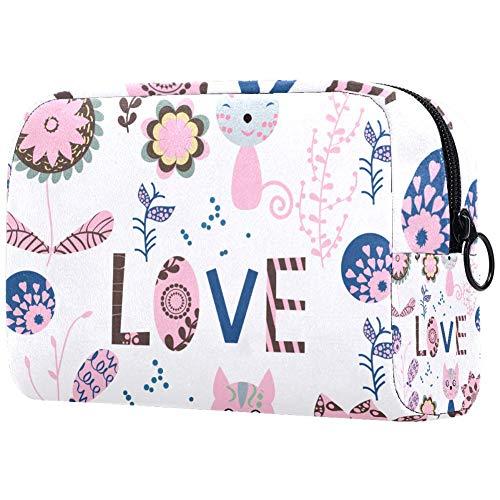 Trousse de toilette portable personnalisée pour femme, sac à main, cosmétique, voyage organiseur de fleurs, animaux dans de jolies couleurs