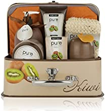 Essence of Luxury Spa Gift Basket Bath Set! PURE Spa Basket Natural Skin Care Gift Set Makes Best Mothers Day Gift for Women & Holiday Gift Baskets! (Kiwi)