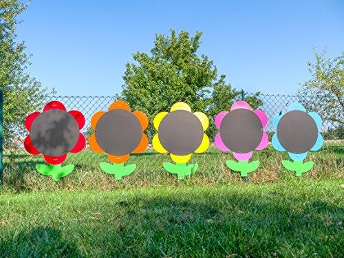 tts - Kreide-Tafel Blumen Indoor/Outdoor, Ø ca. 59 cm, 5er Set - Kinder-Maltafel Schreibtafel Kindertafel Kindergarten Malwand