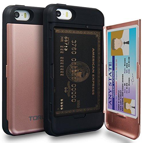 TORU CX Pro Funda iPhone SE Carcasa Cartera Rosa con Tarjetero Oculto y Espejo para Apple iPhone SE/iPhone 5S / iPhone 5 - Oro Rosa