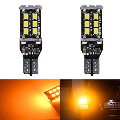 Projecteur LED KaTur Feu arrière/lumière de frein/parking, puissant, 800 lm, SUPERHELL, T15 W16 W 921 915, CAN-BUS sans erreur 15 LED SMD 2835, DC 12 V, blanc, lot de 2