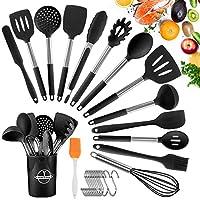 Photo Gallery tonsooze utensili da cucina in silicone, 24 pezzi resistente al calore antiaderenti utensili dautensili da cucina, utensili da cucina in acciaio inox, compresi spatole, pinze, cucchiaio, 13 ganci