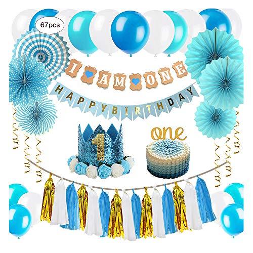 ZNZ Baby Geburtstagsdeko, 1. Geburtstag Party Dekorationen für Jungen | Ammer Banner, Ballons, Hängende Papierfächer Blume Set, Cake Topper, Papierquasten und Baby Kranz Krone Hut (Blue01)