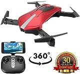 Mini drone avec caméra pour adultes, vidéo en direct avec caméra 2,4 GHz HD, maintien l'altitudu gyroscope RC, retournements à 360 °, avec batterie intégrée 600 mah, mosans tête longue portée, rou