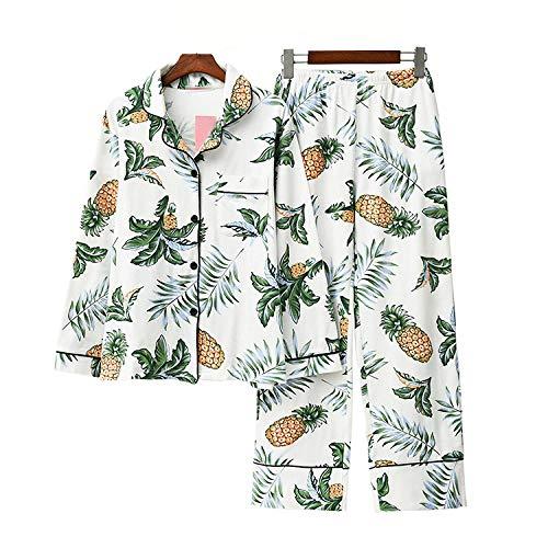 100% Katoen Sweet And Lovely Woman Lange Mouw Broek Pyjama Loungewear Dames Pineapple Printing Pijama