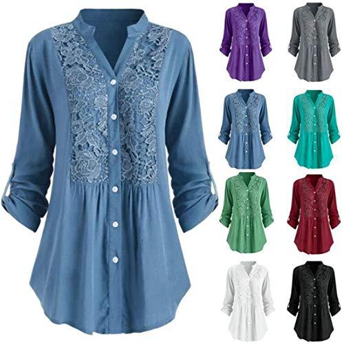 Shirt Damen Bluse Damen Knopf Lässiges Spitzen Dekoration Long Hemd Langärmelige Sexy V-Ausschnitt Einfarbige Lose Damenbluse Mode Damenbekleidung F-Blue XL
