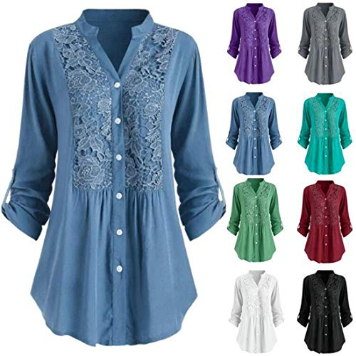 Women's Shirt V Neck Roll Sleeve Lace Patchwork Ruched Blouse Spring Casual Loose Button Down Elegant Chic Shirts Tunic Going Out Daily Trendy Wear Clothing Ladies Shirt XL