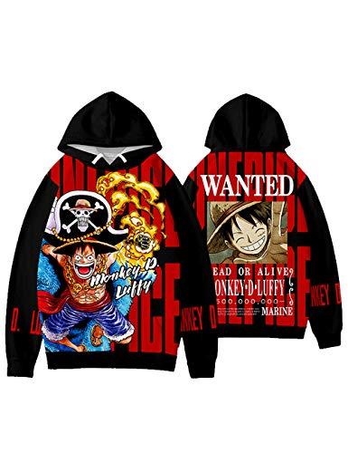 SAFTYBAY Novo Anime One Piece Moletom com Capuz 3D Luffy Cosplay Jaqueta Moletom Manga Uma Peça - Grosso/Fino, Jiarong, 130