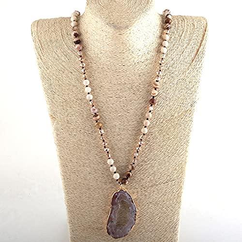 juntao Joyería bohemia tribal de cristal/piedra larga anudada irregular, colgante de piedra drusa para mujer (longitud 88 cm, color metal: 2)