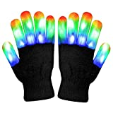 WOWOSS Handschuhe, LED blinkende Bunte Finger Gloves Coole Spielzeuge Handschuhe mit LED für Halloween Christmas Party Bonfire Night Festival -