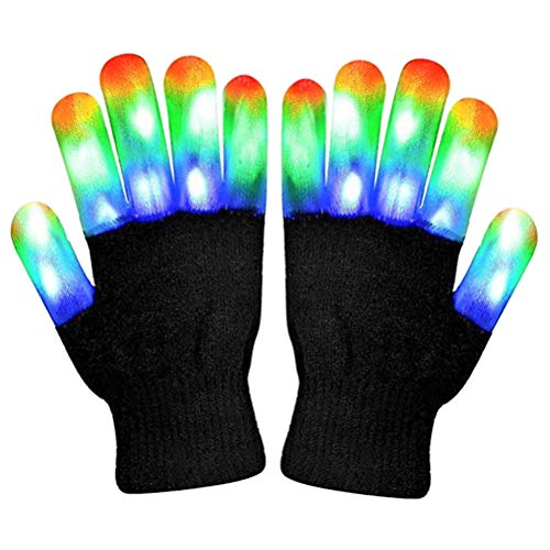 WOWOSS Handschuhe, LED blinkende Bunte Finger Gloves Coole Spielzeuge Handschuhe mit LED für Halloween Christmas Party Bonfire Night Festival