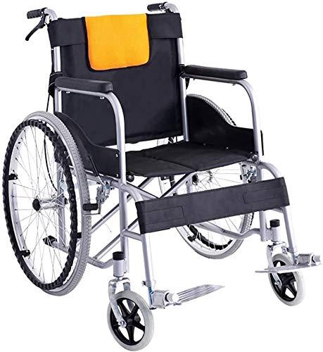 "SOAR Rollstuhl Faltbar,Faltrollstuhl Faltbare Transport Rollstuhl mit Handbremse 24"" Solid Hinterrad, Leichte Carbon Steel Rollstuhl for Lagerung Transport"