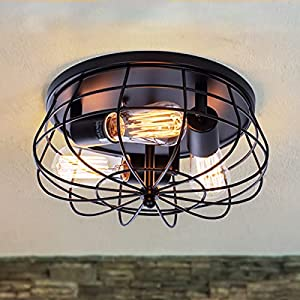 VILUXY Industrial 3-Light Rustic Semi Flush Mount Ceiling Light, with Metal Cage for Kitchen, Living Room, Dining Room, Bedroom, Hallway, Stairway