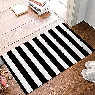 FAMILYDECOR Black and White Stripes Fabric Door Mat Rug Indoor/Outdoor/Front Door/Shower Bathroom Doormat, Non-Slip Doormats, 18-Inch by 30-Inch