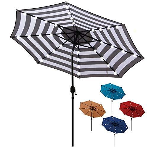 Blissun 9 ft Solar Umbrella 32 LED Lighted Patio Umbrella Table Market Umbrella with Tilt and Crank Outdoor Umbrella for Garden, Deck, Backyard, Pool and Beach (Black and White)