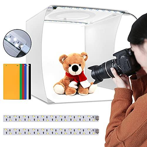 YCDC - Tenda pieghevole per studio fotografico, mini kit di luci per fotografie, kit portatile per illuminazione per riprese fotografiche, luminosità regolabile, 2 x 20 luci a LED e 6 fondali a colori
