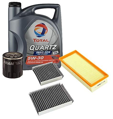 Fram Kit Filtros Puesta a Punto Total Quartz Ineo ECS 5w30 + Aire, Aceite, Habitáculo para Motores 1.0/1.2VTi 2013-