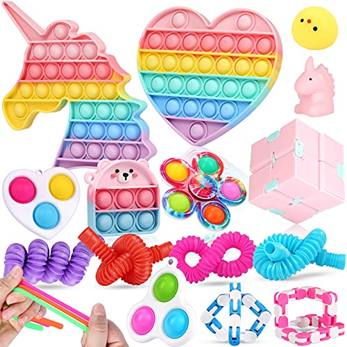 Fescuty Fidget Toys Pack Set Pop Fidgets Toy Sets Packs Fidget Toys Pack Stress Relief and Anti-Anxiety Tools Sensory Toys(18 Packs)