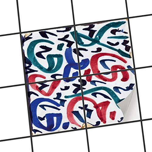 Adesivo-Bagno | Design Adesivi per rinnovare Bagno Cucina Interni - Adesivi murali Adesivi da Parete autoadesivi | 10x10 cm - Motivo Lotus Flower - 9 Pezzi
