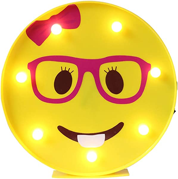 DELICORE Marquee Emoji Sign Funny LED Table Lamps Night Lights For Children Kids Bedroom Wall Decor Battery Operated USB Charging Nerd Girl