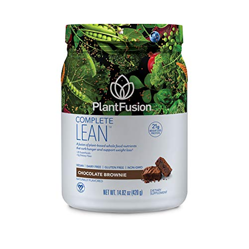 PlantFusion Complete Lean Plant Based | Weight Loss Protein Powder | Supports Blood Sugar & Controls Appetite | Superfoods with Digestive Enzymes | Gluten Free, Vegan, Non-GMO, Chocolate Brownie, 1 LB