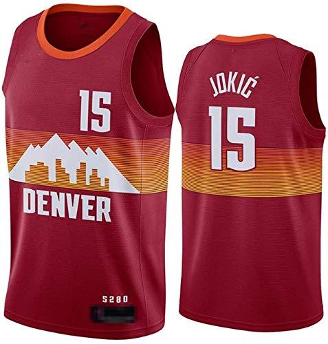 llp Jerseys de Baloncesto para Hombres, NBA Denver Nuggets # 15 Nikola Jokic - Classic Chalt Tops Comfort Transpirable Deporte sin Mangas Camiseta Sportswear (Color : Brown, Size : X-Large)