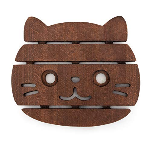 The Mammoth Design Cat Trivets for Hot Dishes, Perfect Gift, Decorative Wooden Trivet, Coaster, Hot Pot Holders Pads for Rustic Home Kitchen Counter or Dining Table