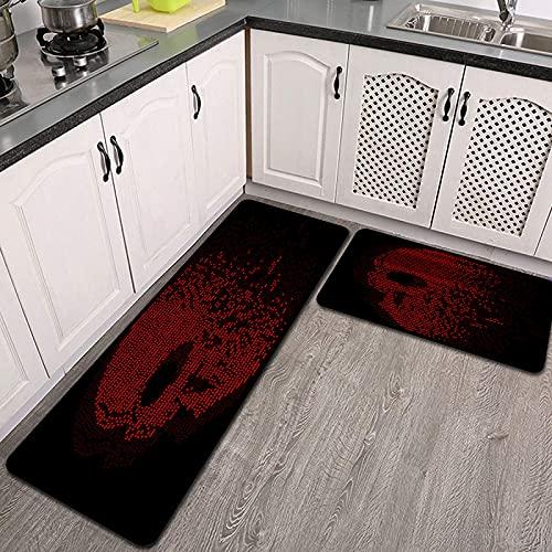 Juegos de alfombras de Cocina,Número de Red Skull,Antideslizantes Lavables de 2 Piezas Alfombra súper Absorbente