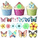 BBTO 100 Pièces Cupcake Toppers Fleurs Papillons Décoration de Cupcake Fleurs d'anniversaire pour Décoration de Gâteau de Fête de Mariage