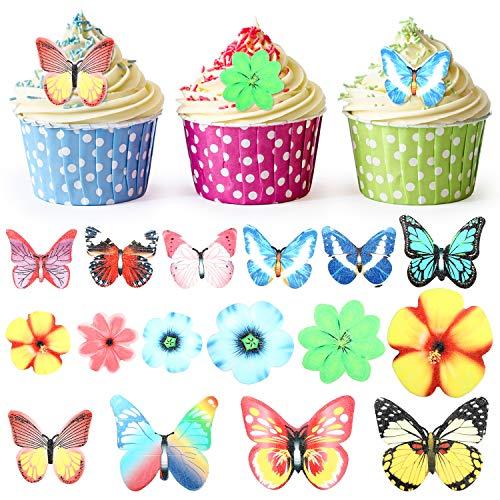 100 Stücke Blumen Schmetterlinge Kuchen Topper Geburtstag Blumen Cupcake für Hochzeit Party Kuchen Dekoration