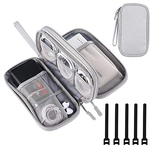 DDgro Electronics Travel Organizer, Waterproof Tech Accessories Pouch Bag for Keeping Certificates/Charger/Power Bank/Cables/Mouse/Earphone/Students' stationeries Organized (Light Gray)