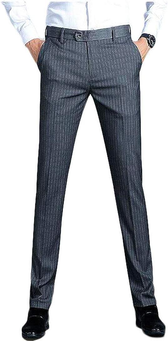 Botong Men's Regular Fit Striped Dress Pants Wrinkle-Free Stretch Flat Front Casual Pants Comfort Suit Pant